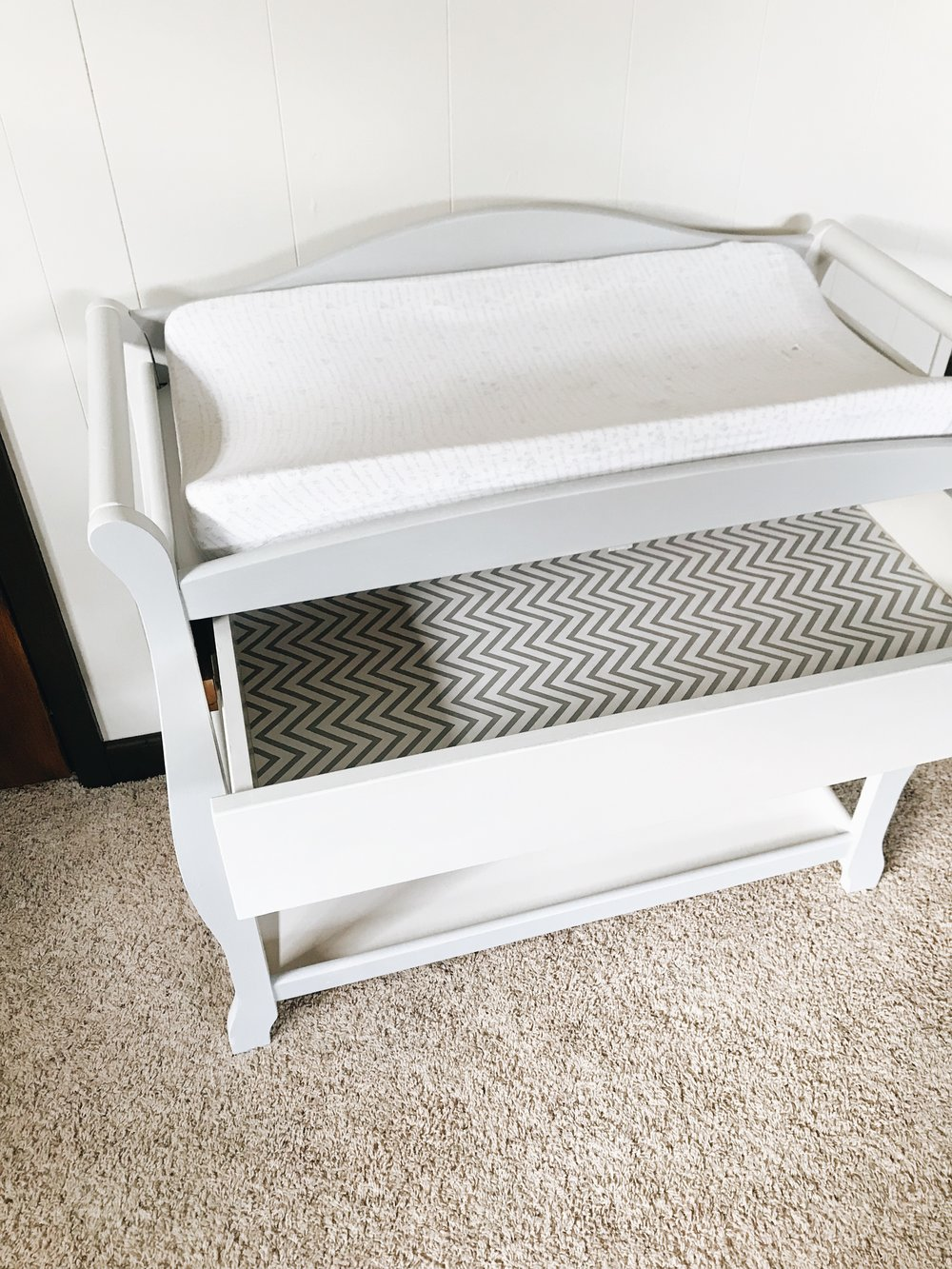 DIY Changing Table Makeover. How To Update a Hand-Me-Down Diaper Station.