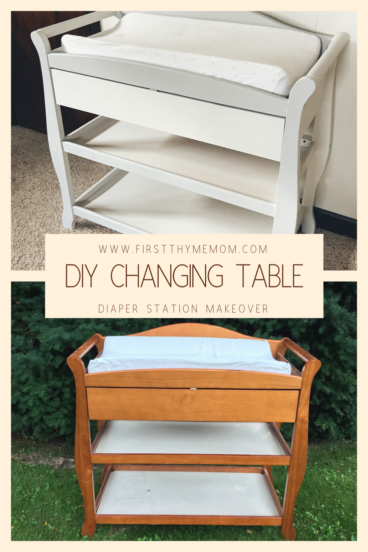 DIY Changing Table Makeover. How to fix up a tired-looking changing table. Changing table ideas. Diaper station.