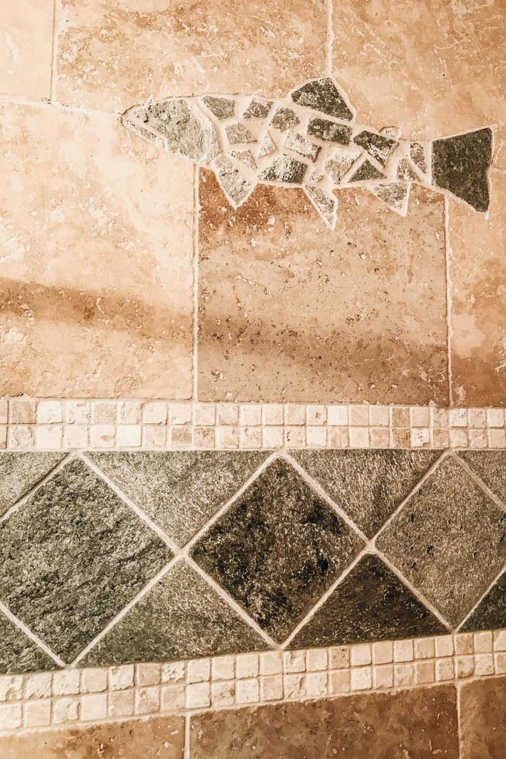 Fish Mosaic Tile Ideas. Fish Mosaic In A Shower. Travertine Tile Fish Mosaic Pattern.