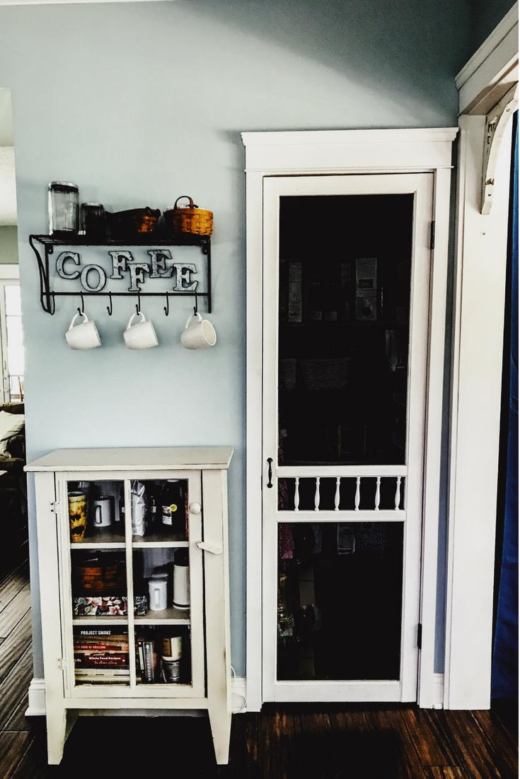 Coffee decor ideas for lake house. Screen door pantry ideas. Screen door kitchen pantry.