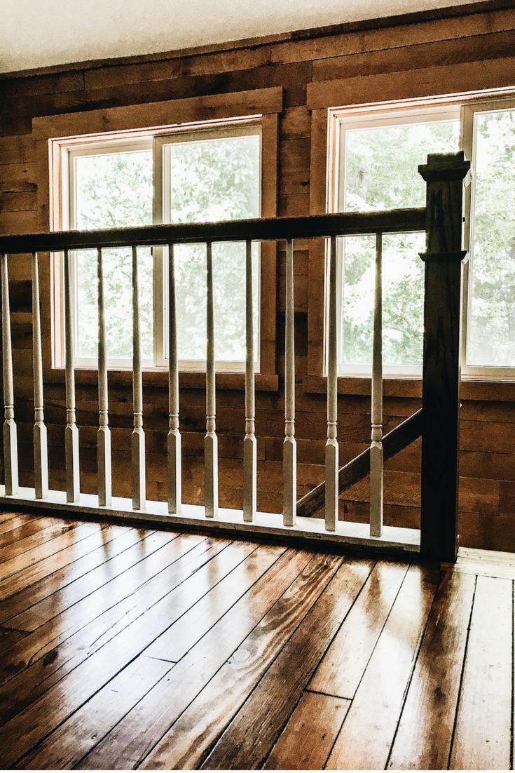 Lake House Stairs. Refinishing Hardwood Floors. Restoring original hardwood flooring.