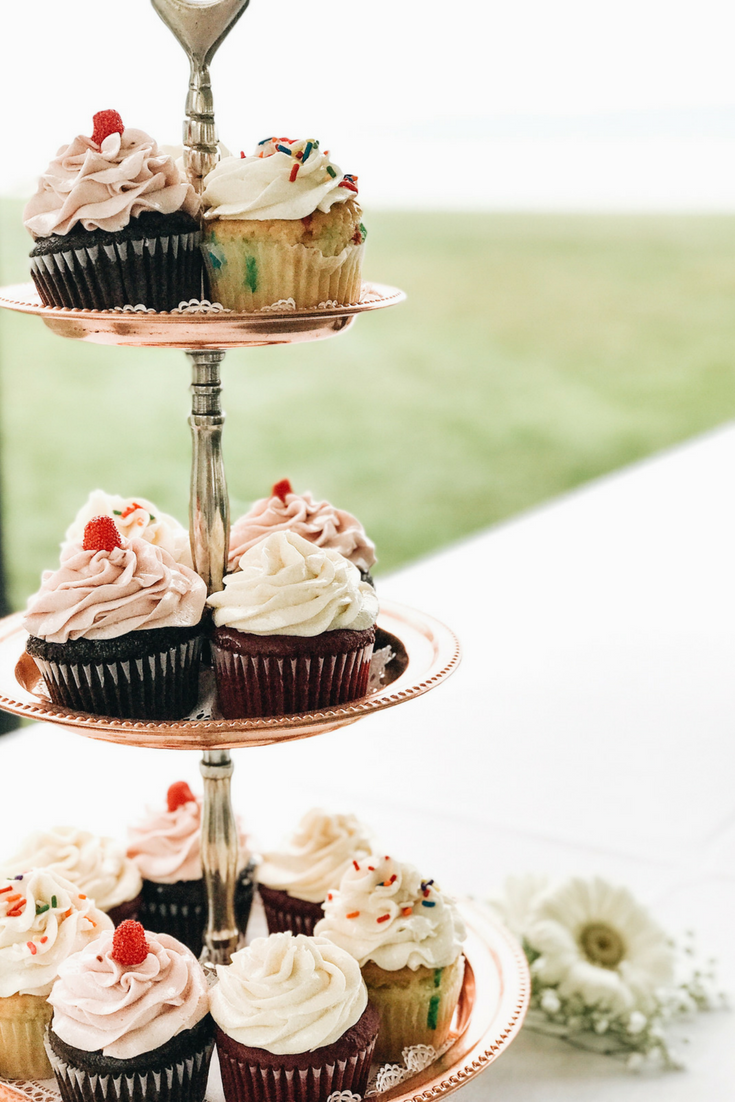 Wedding cupcakes, alternative to wedding cake. How To Have A Gorgeous Beach Wedding In The Midwest. Bay Harbor Michigan Wedding.