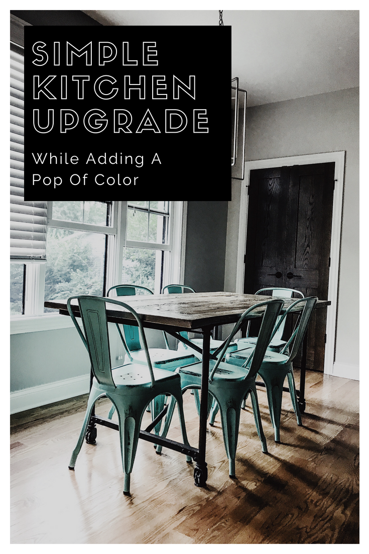 Simple Kitchen Upgrade While Adding A Pop Of Color. Kitchen Table Makeover. #inmod #sponsored