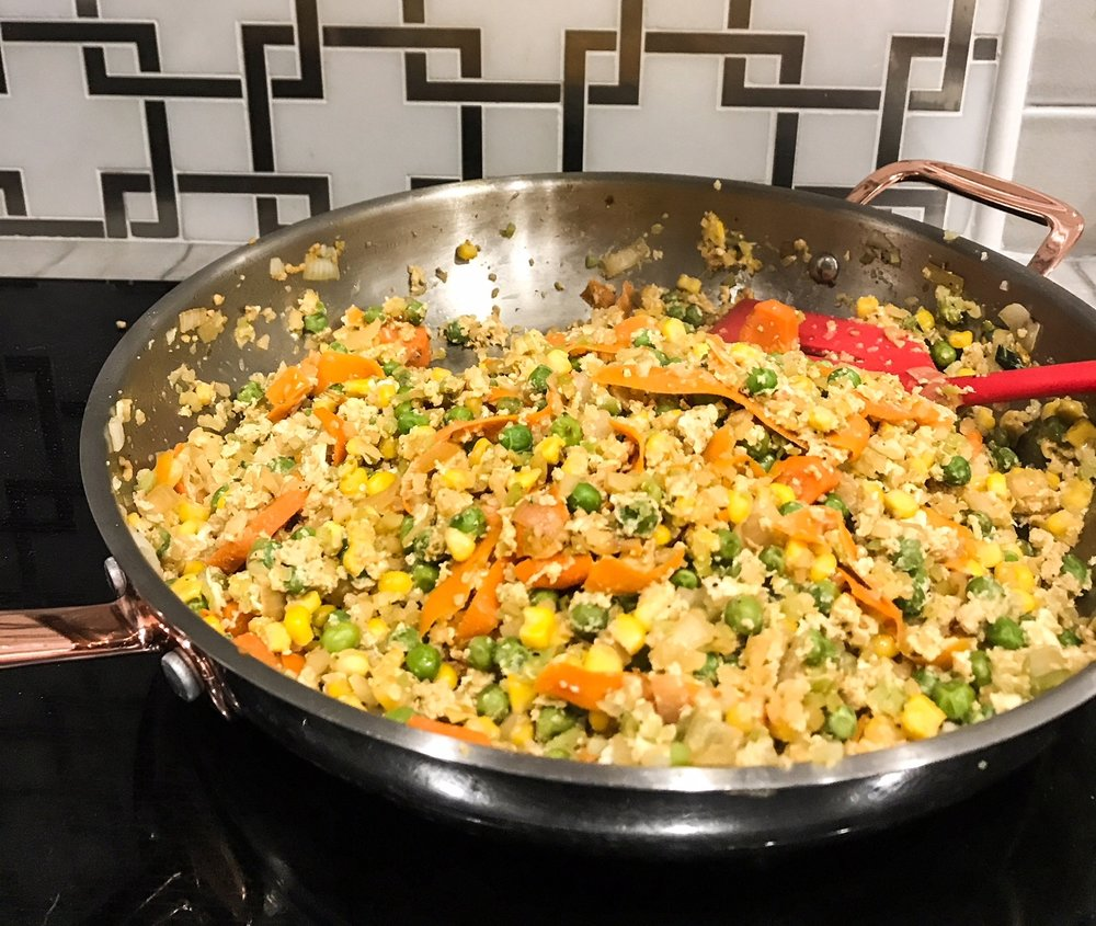 Fried Cauliflower Rice Body Back Recipe. How To Keep Motivated When Trying To Reach A Fitness Goal. Postpartum Weight Loss. How To Lose The Pregnancy Weight. Bouncing Back After Having A Baby. #Postpartum #fitness #bounce #back