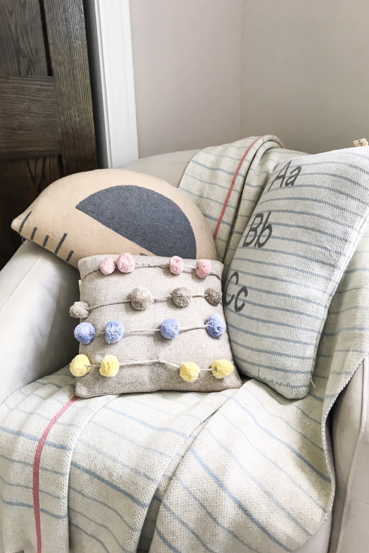 Educational Room Ideas For Kids. Cushions for Kids Floor and Room. Notebook blanket and pillow by Lorena Canals. Abacus pillow, counting frame, with movable counting balls. Baby girl room ideas. #sponsored #lorena #canals #nursery #ideas