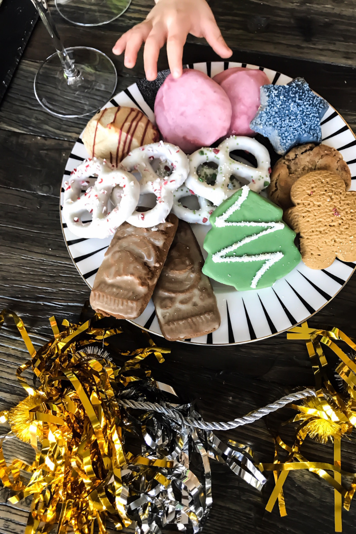 Holiday Cookie Tray. How To Have A Low Key Fancy New Year's Eve At Home With Your Family. New Year's Eve ideas for kids. How to celebrate the new year at home. New Year's Eve With Kids. Shopping at Whole Foods Market For The Holidays. #sponsored #MakesMeWhole #LowKeyNYE #Whole #Foods