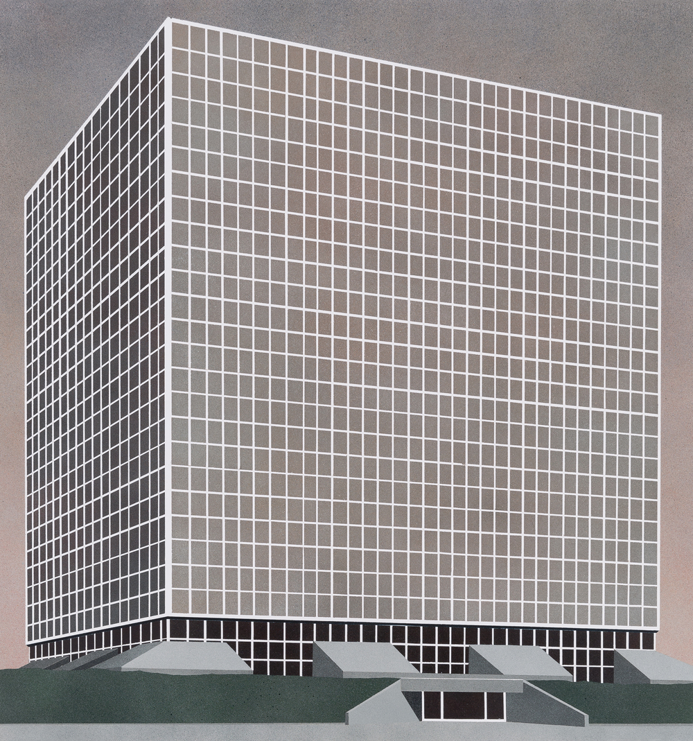 Sanitation Building, Los Angeles, 2015. Acrylic on paper 19.5 x 18 inches