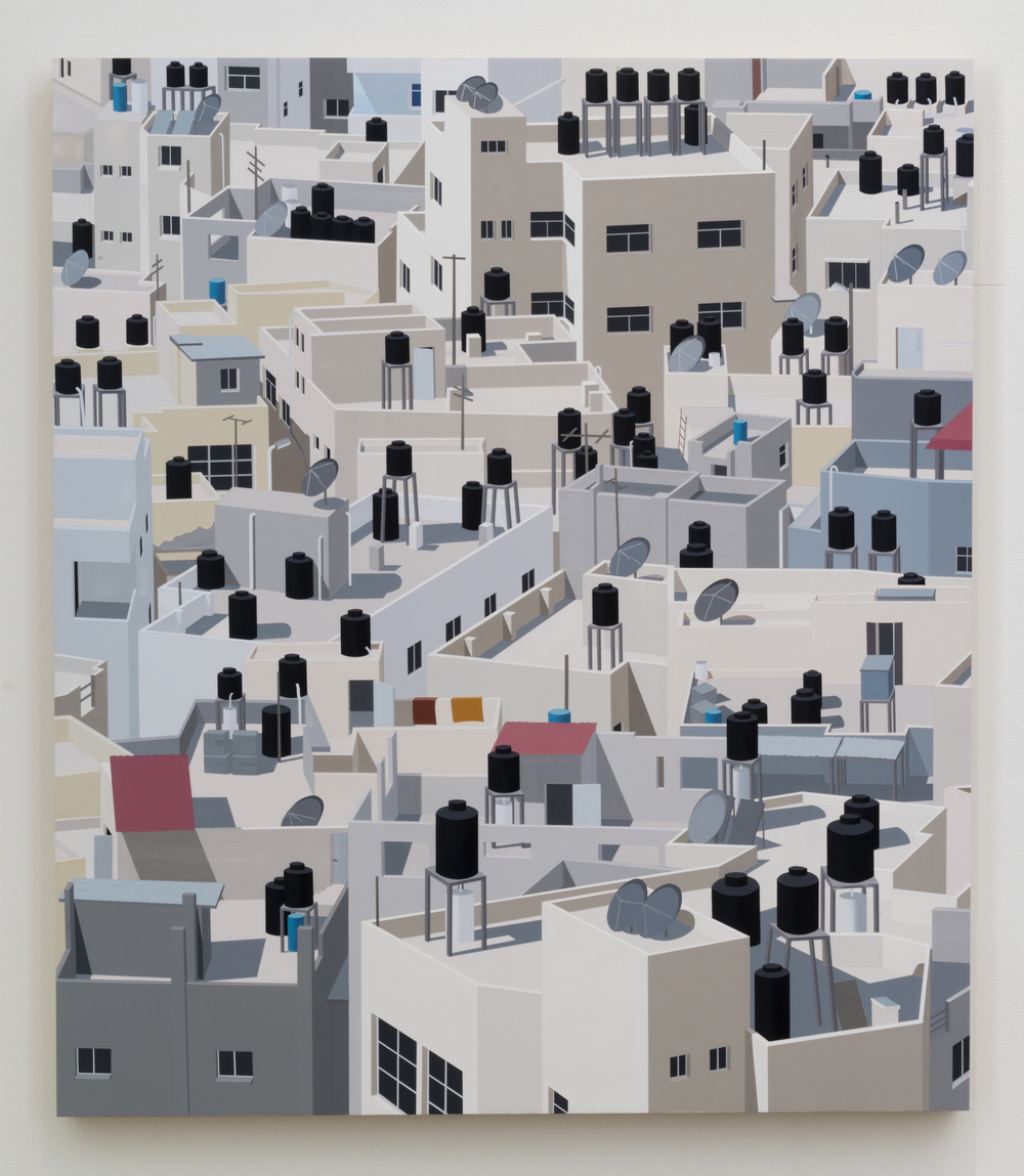 Jenin, West Bank, 2016. Acrylic on Dibond, 40 x 38""