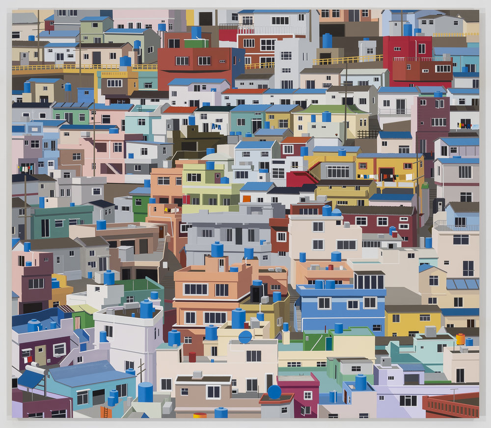 """Gamcheon Cultural Village, Busan, South Korea"", 2015. Acrylic on Dibond, 59.5 x 68"""
