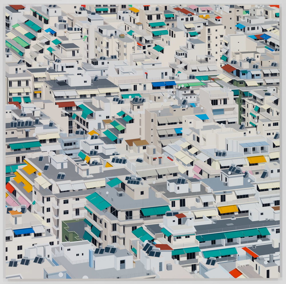 Athens, 2017. Acrylic on Dibond, 80 x 80 inches (203.2 x 203.2 cm)