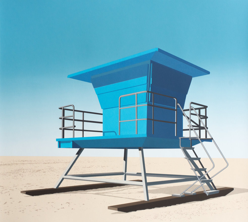 Lookout, Huntington Beach, CA, 2018, screenprint, 21.75 x 24.5 inches image and sheet, edition of 10,