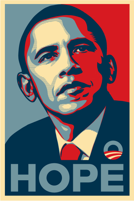Figure 2: Obama 'HOPE' poster designed by Shepard Fairey.