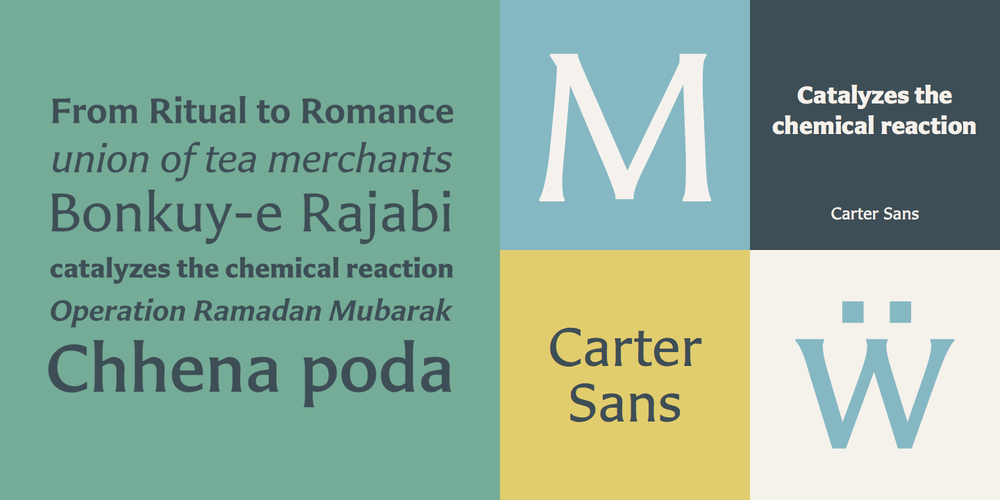 Carter Sans by Matthew Carter.  Image via https://www.myfonts.com/fonts/itc/carter-sans/