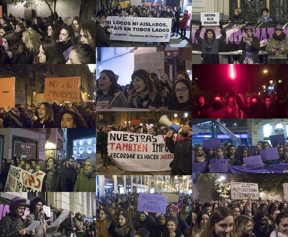 25N. Concentración durante el Día contra las violencias machistas. Noviembre 2017 en Zaragoza.