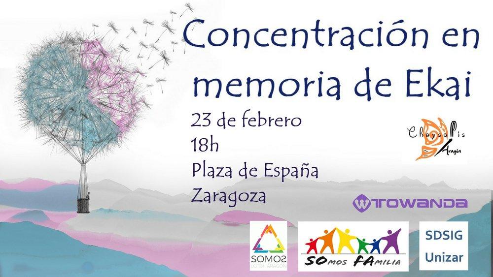 Concentración en Zaragoza en memoria de Ekai. 23 de febrero, 18 horas, Plaza de España, Zaragoza.
