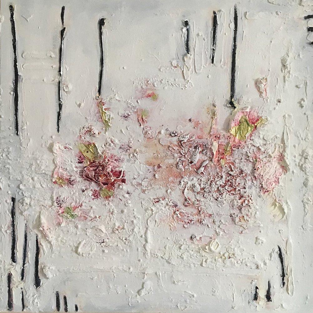 """Ici est mon cœur.. - 2017-2018Oil and gold leaf on canvas24 x 24 """""""