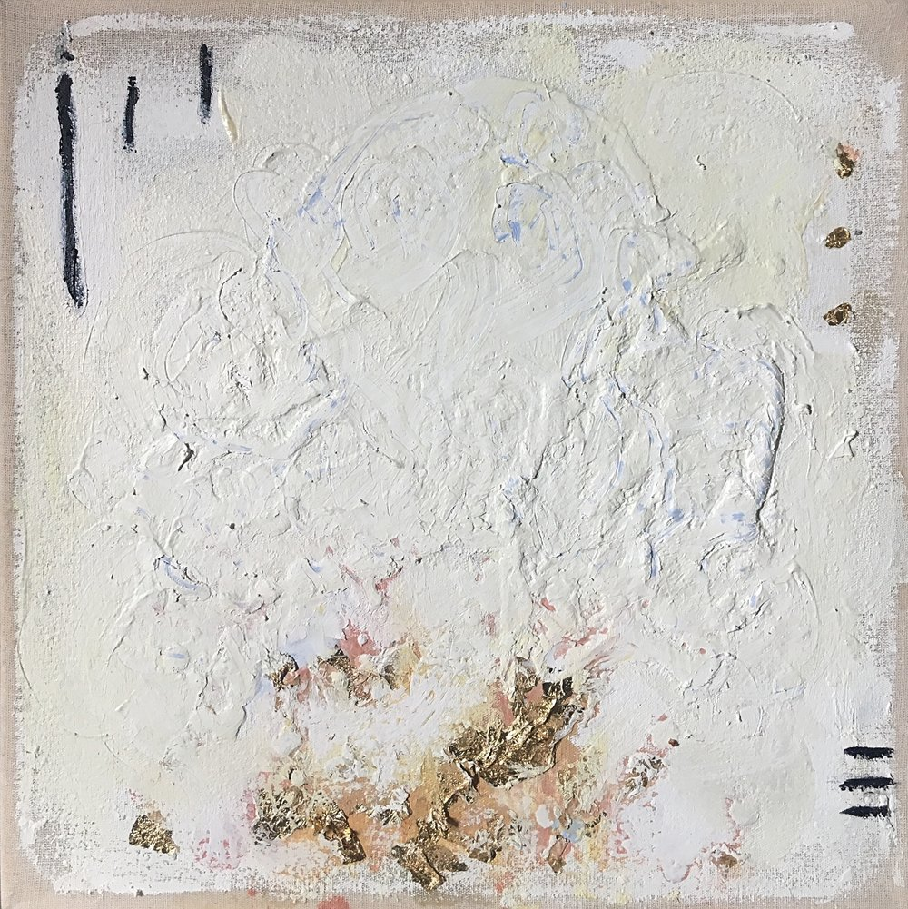 "Carpe diem - 2018Encaustic, oil and gold leaf on linen12 x 12 """