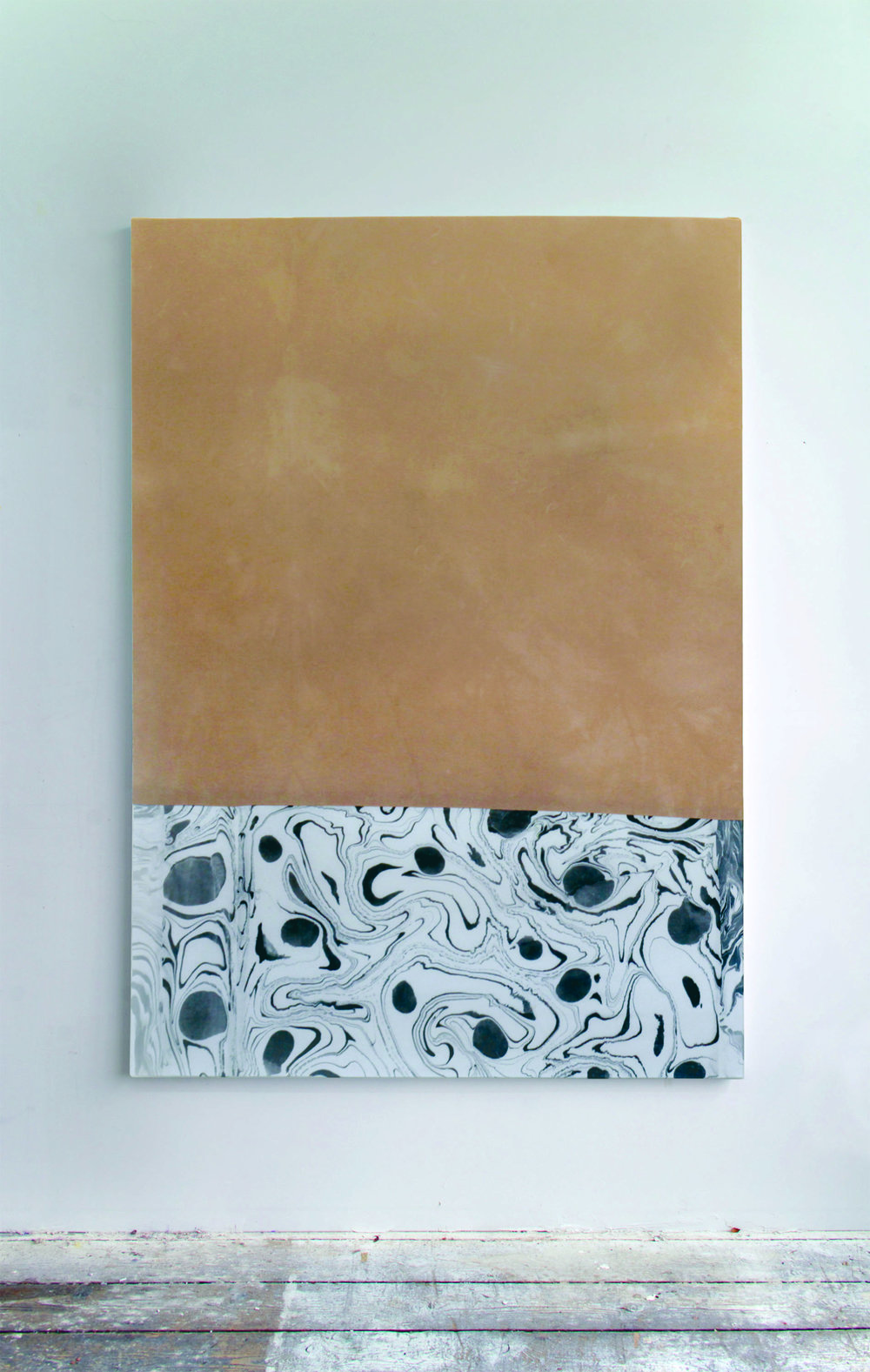 Endings Begin,  2018  Onion skin dyed cotton, marbled linen, thread