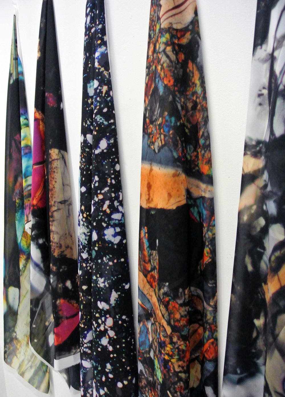 Breccia Folds , 2018  Moon breccia thin sections viewed through polarized light, digitally printed on silk chiffon