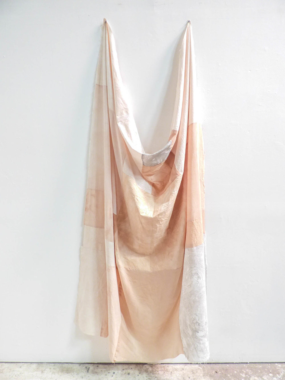 Avocado Marbled , 2017  Avocado dyed and marbled fabric, thread