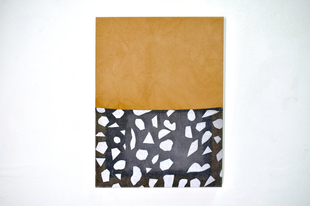 Untitled,  2018  Avocado dyed canvas, dyed and screen printed linen, thread