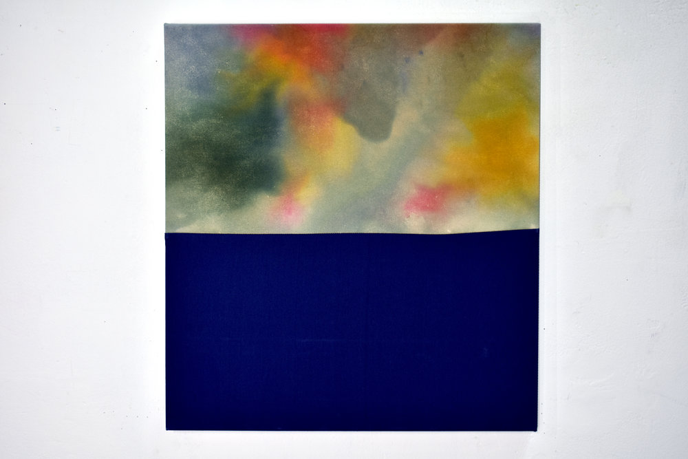 Untitled,  2018  Ice-dyed canvas, found fabric, thread