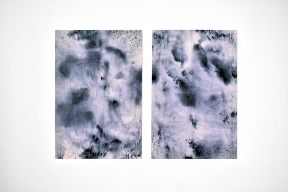 "Mark Twain was born and died in sync with Halley's Comet, 2018 Fiber reactive dye melted on canvas  24""x36"" each"