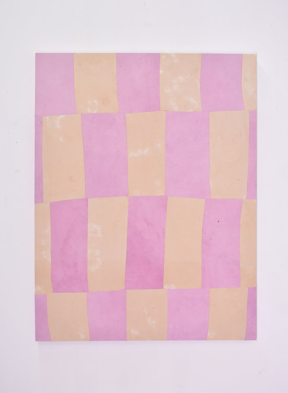 Cochineal & Avocado, 2018 Cochineal and avocado dyed canvas, thread