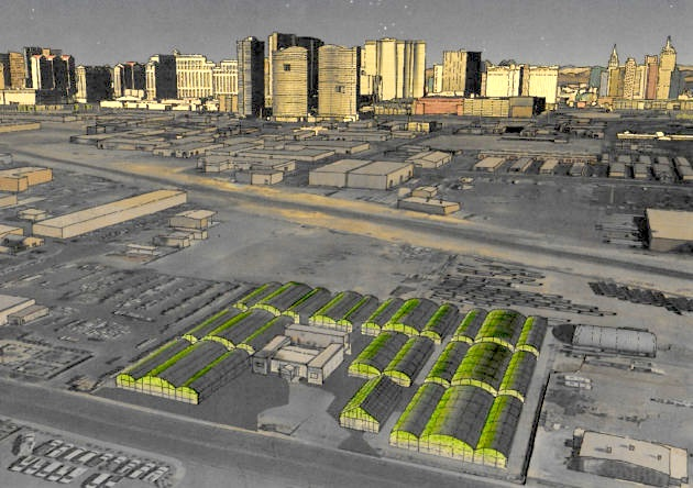Artist's rendering of the new Urban Seed Campus with Las Vegas strip in the background (artwork courtesy of Urban Seed).