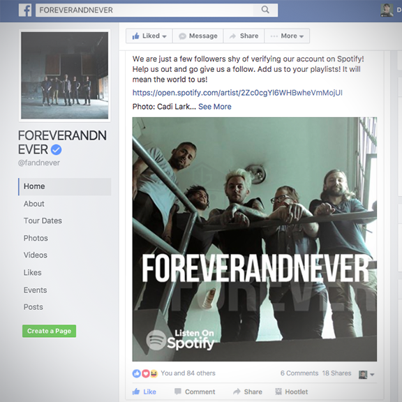 FOREVERANDNEVER Web & social ads for a Spotify campaign.