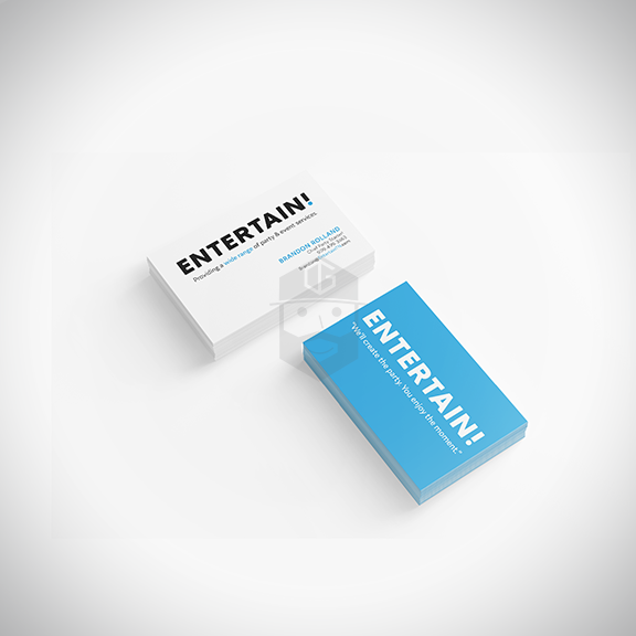 ENTERTAIN! Front & back of business card.