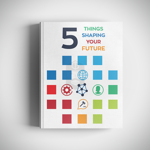 5 Things Shaping Your Future Cover design & text formatting.