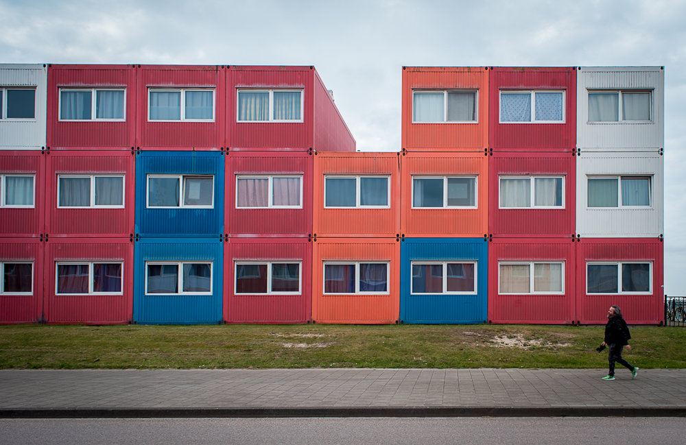 Shipping containers converted into colorful, modular, and super cheap student housing for emerging artists. Yes, it's basic and a metal box but one can't beat the price for being in the heart of Amsterdam, where affordable housing is increasingly a distant dream.