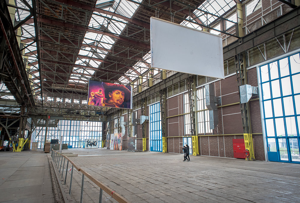 Massive exhibition and display spaces used for gatherings, events and festivals are part of the Kunststad, one of the main hangars of the shipyard.