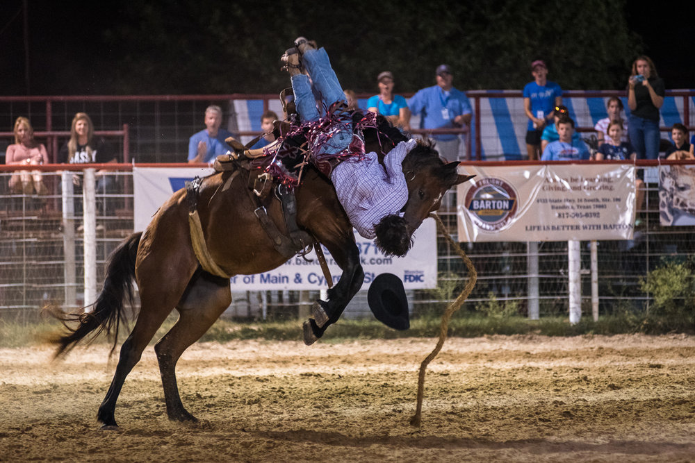 Broncs have exceptional strength and agility, and even an eight second ride takes immense toll on a cowboy's body. A money-winning ride involves more than brute strength as technique and timing account a lot for points. Bandera Rodeo 2017.