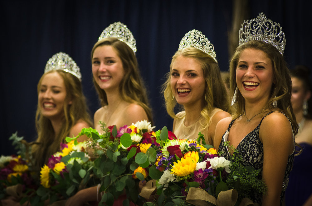 The Queen's pageant is a big deal. The newly announced Queen (at the right) is all smiles with her runners up contestants. Her first duty after winning the crown? Clean up the trash at the rodeo the following morning. Johnson City Rodeo 2017.