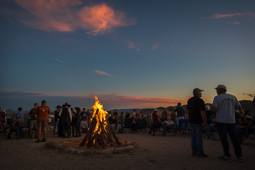 Immediately after sundown, the bonfire is lit up at the cemetery and people gather around it with beverages and food - many familiar faces, some new ones, but good conversations begin to flow all around.