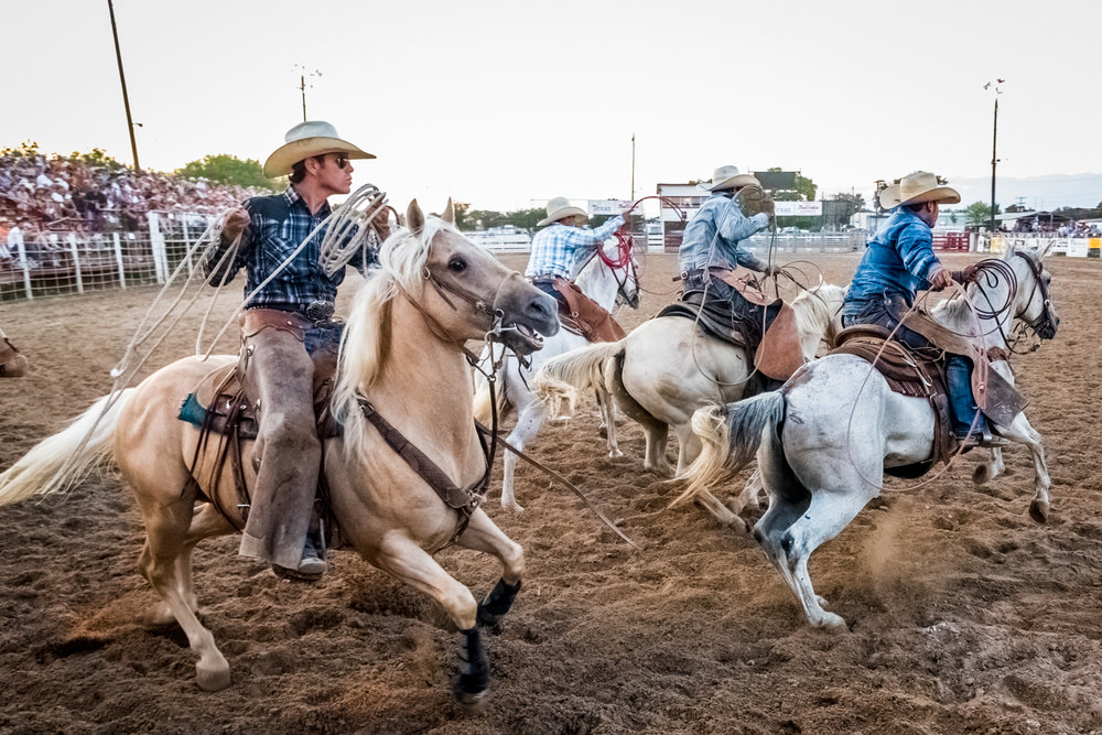© Ayash Basu. One can get within a few feet of the action at these rodeos. I click away glued to the arena fence as this team gallops away to a timed rope. Bandera 2018.