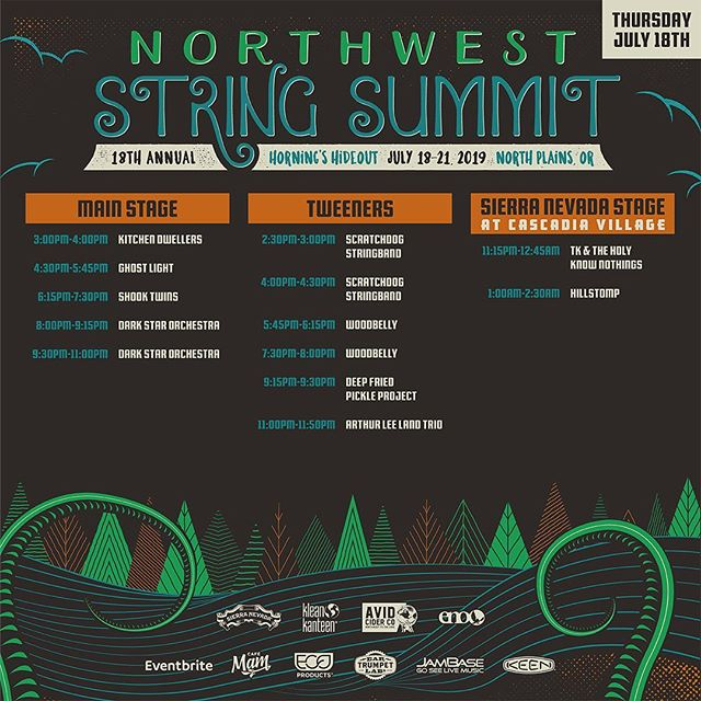 The @stringsummit Daily Schedule is announced.  Check it out and make your plans to join us at Horning's Hideout this July.  Tickets available at stringsummit.com  #nwss2019 #strummit