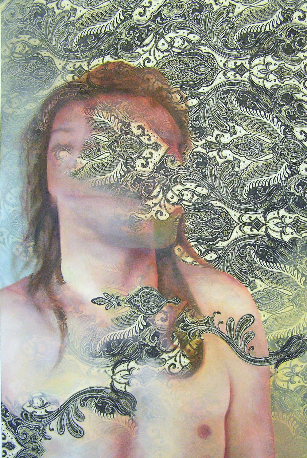 "Breathe   Oil on fabric  40""x24""  2015"