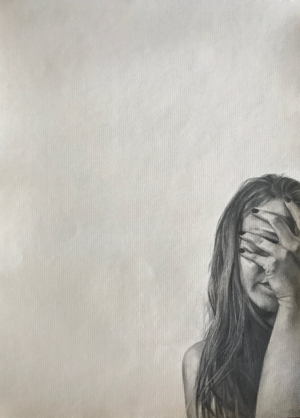 "Never Show Faces   Graphite on paper  9""x12""  2018"