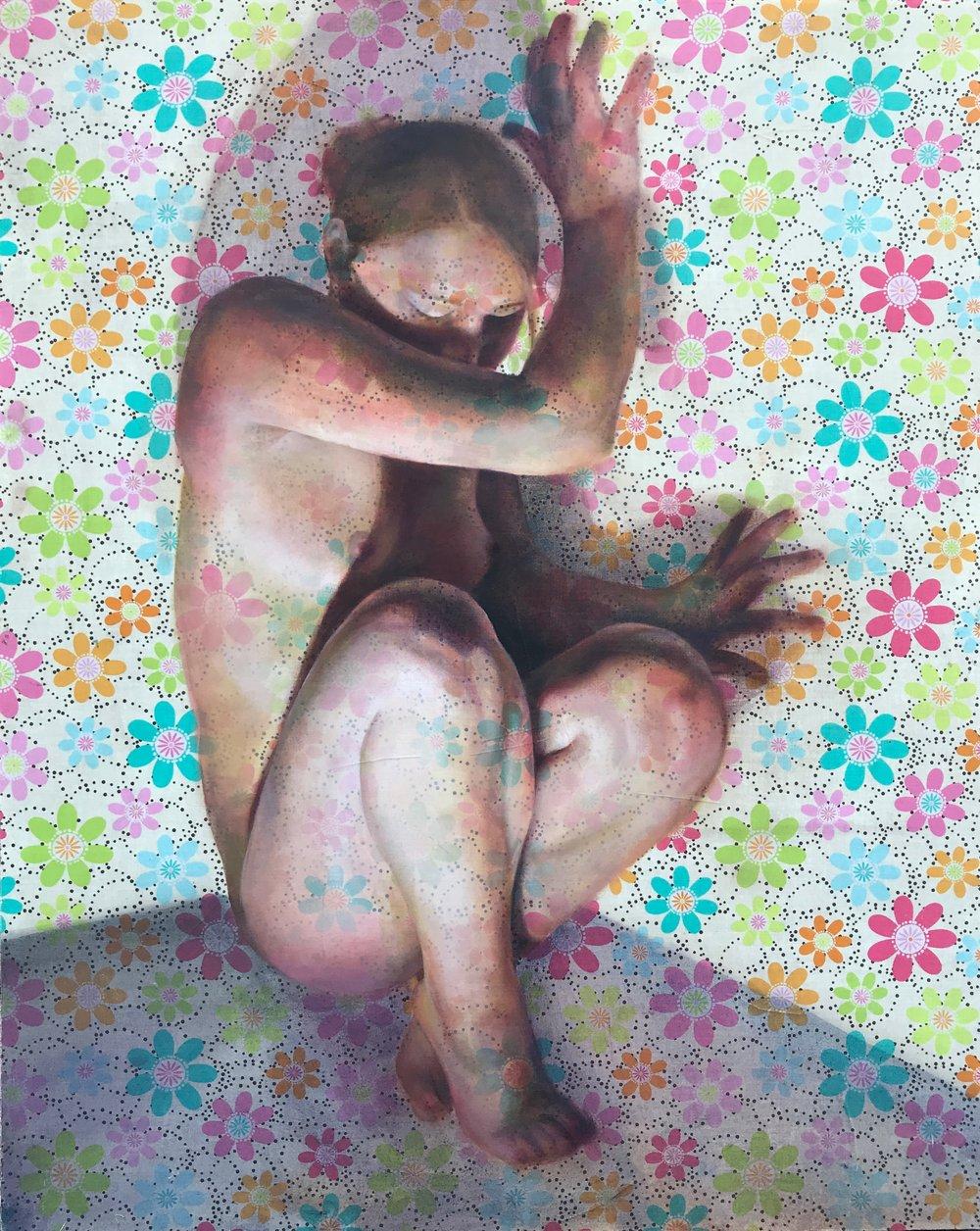 "Multi colored flowers   Oil on fabric  26""x40""  2015"