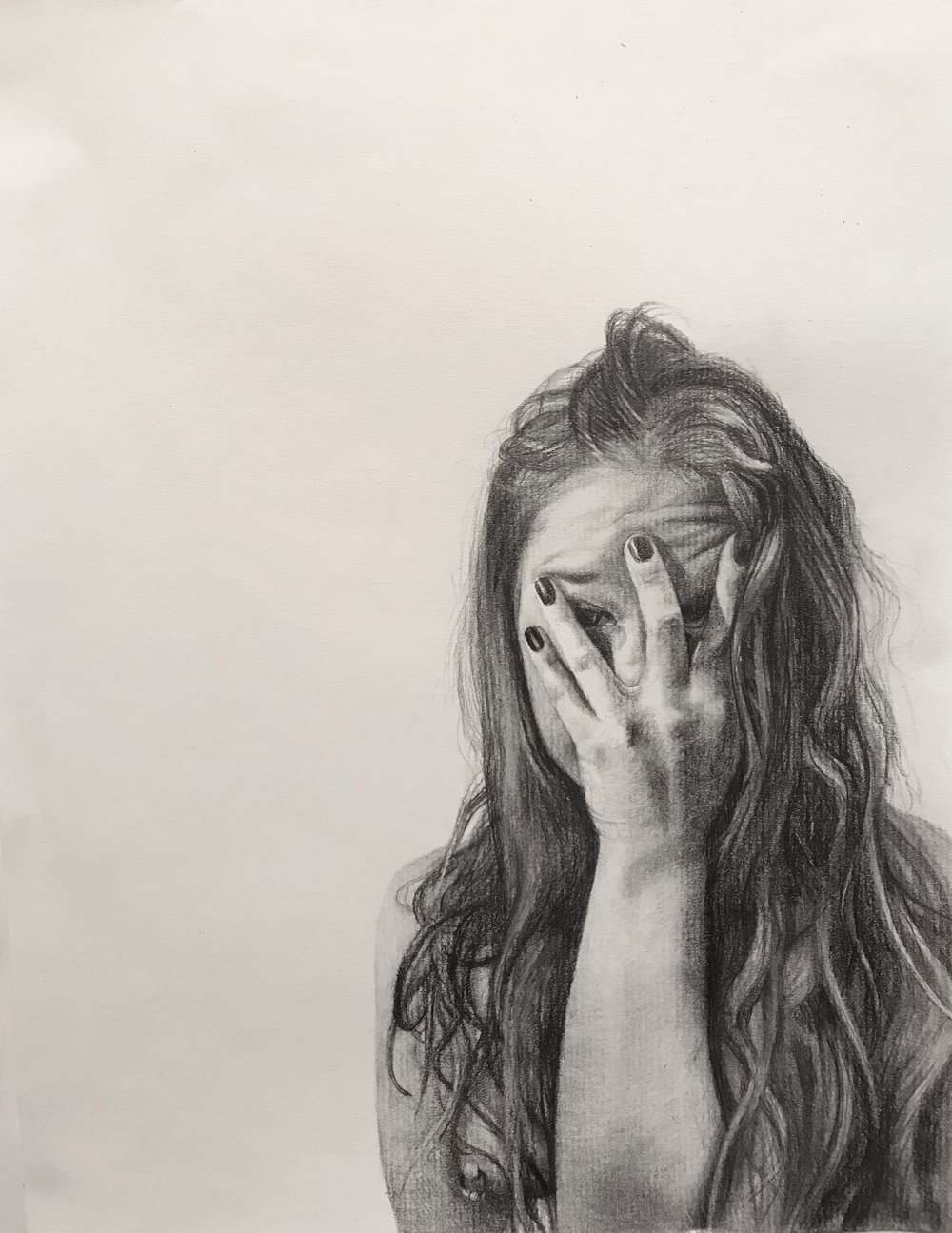 "Never Show Faces II   Graphite on paper   9""x12""  2018"