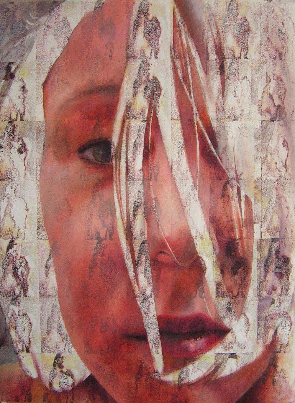"Portrait I   Oil paint on acetone transfers  24""x32""  2015"