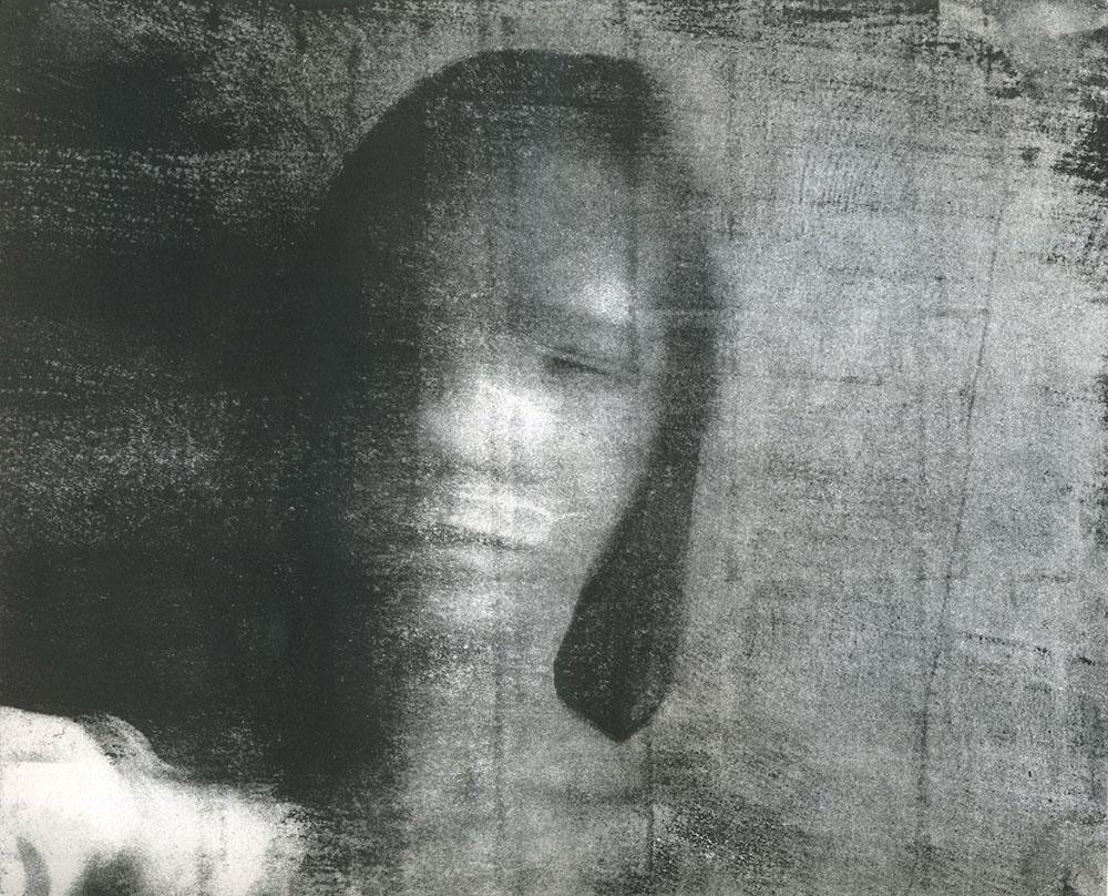 "Self Portrait II   Lithographic Transfer  8""x10""  2014"