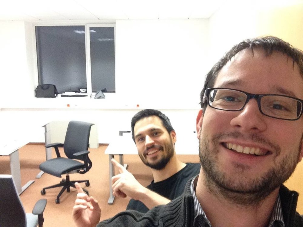 Look how happy we were about our first real office in an actual office building! We even uploaded this burned-out image to Facebook.