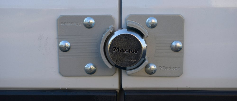 SECURE. Two way alarm and heavy duty locks… security for all gear enclosed.