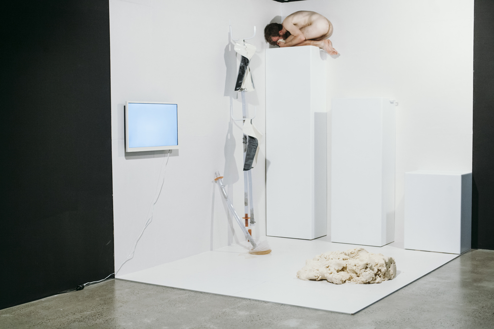 2014. (install view). mixed-media installation and performance. 2300mm x 3000mm x 2800mm  all photo credit: George Popov