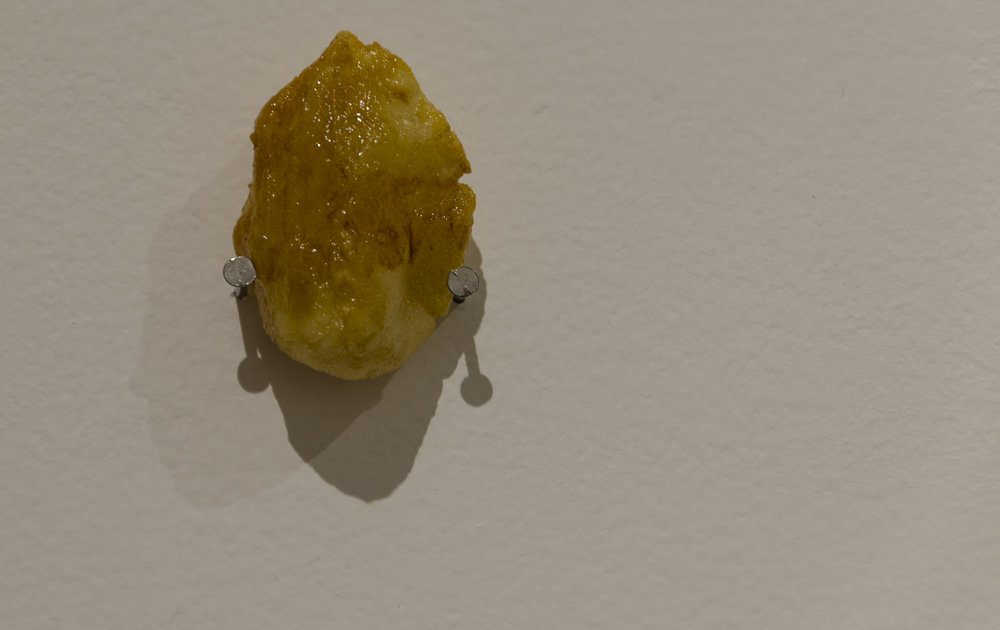don't push  . 2015. (detail view). casein, shellac. dimensions variable