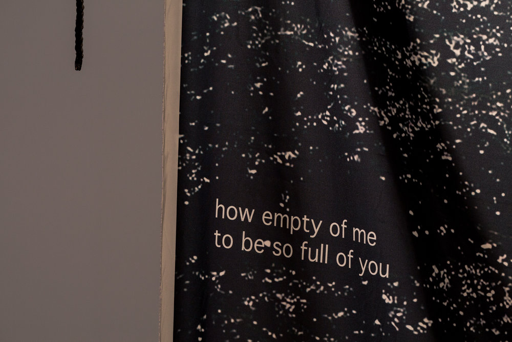 how empty of me to be so full of you  . 2018. (detail view). digital print on polysilk with cord. 2000mm x 1350mm